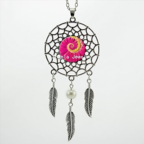 Pretty Lee Lotus Flower Necklace Magenta Flower Pendant Jewelry Dream Catcher Pendant Necklace Art Photo Glass Cabochon Necklace