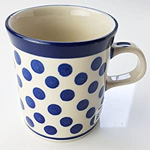 Polish Pottery Mini Mug – Small Blue Dot 130ml