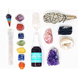 16 pcs Chakra Crystal Healing Kit! / Lot of Chakra tumbles, Amethyst Cluster, Raw stones, Sage, Meditation Spray + more. Bohemian Gift Set!