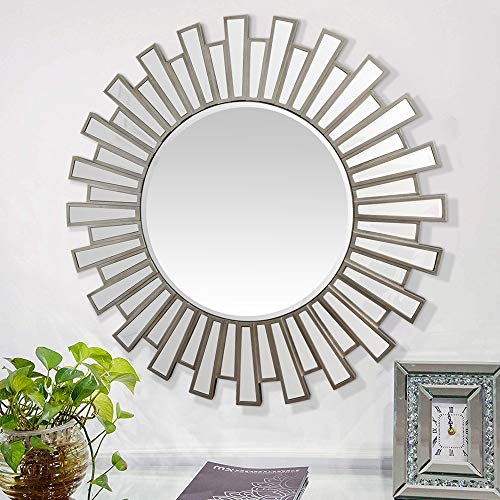 GA Home Antiqued Sunburst Round Frameless Wall Mirror, Modern Boho Decor for The Living Room, Bathroom, Bedroom, and Entryway - Silver Finish (Mirrors Round Silver)