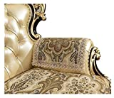 sideli Sofa Couch Chair Armrest Cover Coffee Jacquard Chenille Armrest Cover European Sofa Arm Protector Non-Slip Sofa Arm Pad Fabric Lace Sofa Cover (Coffee, 2PC-Arm cover 20x24)