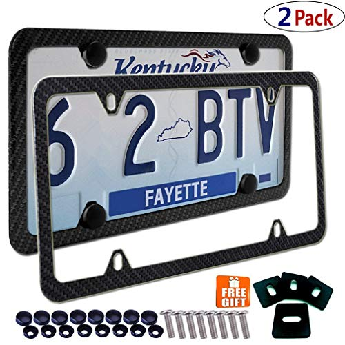 Aootf Carbon Fiber License Plate Frame -4 Holes Black Aluminum License Plate Frames Printing Carbon Fiber Pattern Metal Frame Screw Kits Fine Slim Standard Size for USA Car