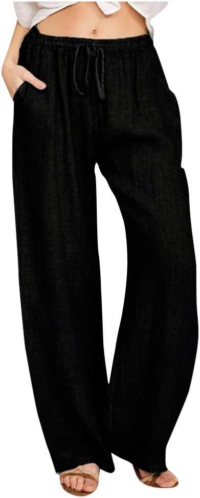 3XL, Marine Sannysis Leinenhosen Damen Sommer Lang Leinen mit Kordelzug Strandhose Leichte Sommerhose High Waist Freizeithosen Beil/äufig Weich Haremshose Yogahose Casualpants Trackpants S-3XL