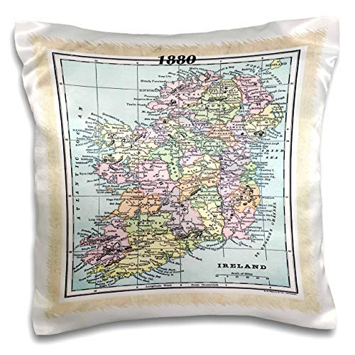 "3dRose pc_38899_1 1880 Map of Ireland-Pillow Case, 16 by 16"" (Renewed)"
