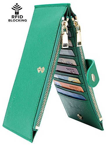 Travelambo Womens Walllet RFID Blocking Bifold Multi Card Case Wallet with Zipper Pocket (synethic leather forest green)