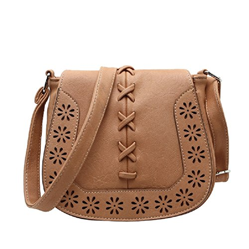 MiCoolker Womens Crossbody Bag, Vintage Bohemian Hippie Lace Up Hollow Flap Fringe Tassel Crossbody Shoulder Bag Pouch Purse Handbag Messenger Bag (Indian Tan)