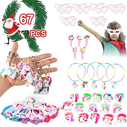 Unicorn Party Supplies Birthday Party Favors 67pcs Unicorn Theme Sets Includes Unicorn Masks Hairpins Necklaces Keychains Bracelets Rings - Novelty Decoration Toys Rainbow Prize Gifts for Kids Girl ()