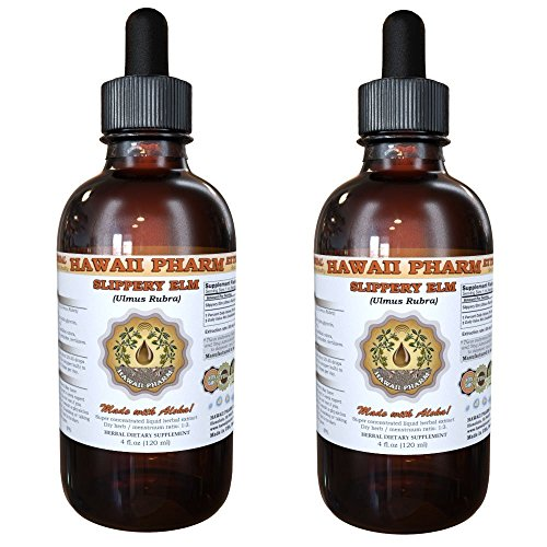 Slippery Elm Liquid Extract, Organic Slippery Elm (Ulmus Rubra) Tincture, Herbal Supplement, Hawaii Pharm, Made in USA, 2x4 fl.oz by HawaiiPharm