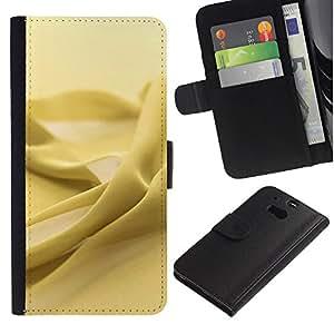 KingStore / Leather Etui en cuir / HTC One M8 / Amarillo textura de la tela