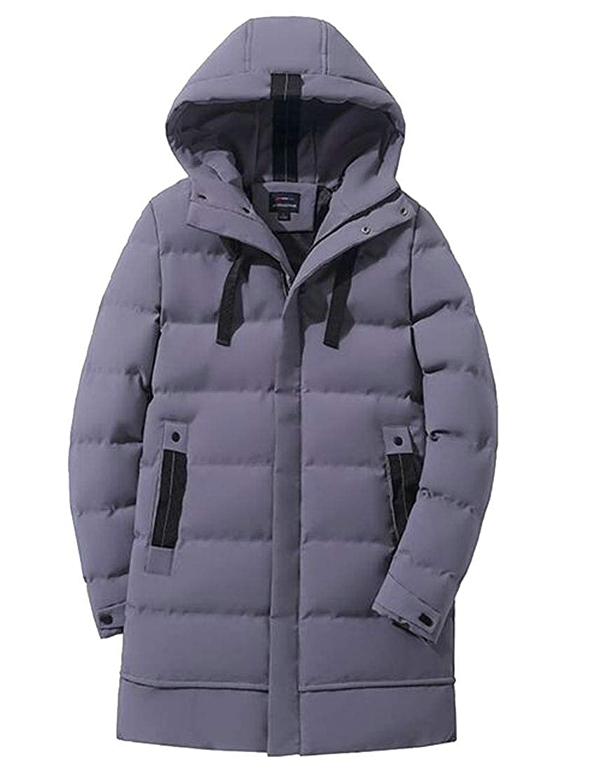 Suncolor8 Men Regular Fit Solid Color Hoodie Longline Thermal Winter Quilted Jacket Parka Coat Outerwear