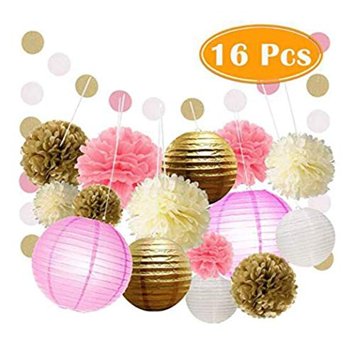 16pcs Pink White Cream and Gold Party Decoration Set with Tissue Paper Flower pom poms, Paper Lantern and Polka dot Garlands for Wedding, Bridal Shower, Baby Shower or Birthday Party