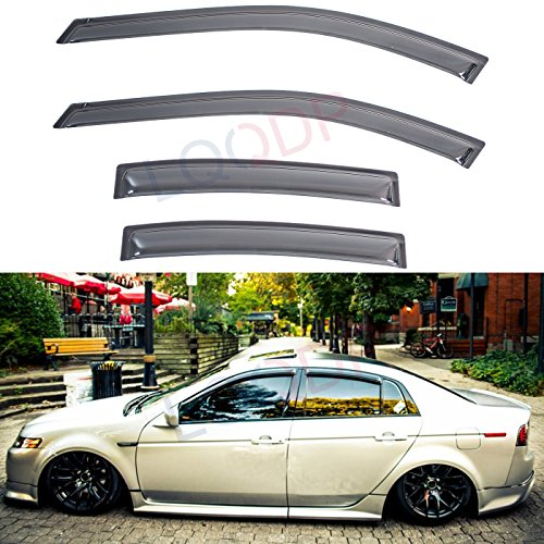 LQQDP 4pcs Front+Rear JDM Smoke Sun/Rain Guard Outside Mount Tape-On Window Visors Fit 04-08 Acura TL ()