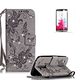 LG K7 Stand Case with Free Screen Protector,Funyye Premium Leather Wallet Rope Cover Glitter Sparkle Butterfly Flowers Pattern Protective Case for LG K7 - Gray