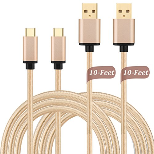 USB Type C Cable 10ft, X-EDITION 2-Pack Gold Plated High Speed Long Nylon Braided Charger Cord for Google Pixel XL, LG G5, HTC 10, Oneplus 2/3, Nexus 5X/6P, New MacBook and More