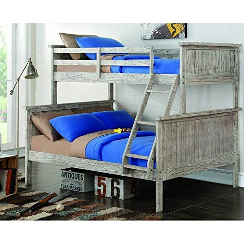 Donco Kids 004-TFD Panel Bunk Bed, Twin/Full, Driftwood (Bed Captain Youth Full)