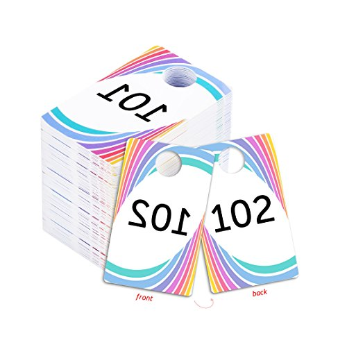 Live Sale Plastic Tags, 001-999 Number Series, Reusable Normal and Reverse Mirror Image Hanger Cards, Select a Set of 100 Numbers, (101-200) (Of White 100 Coat X)