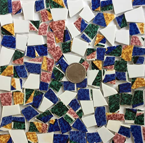 Broken China Mosaic Tile Art Supply for Crafts ~ Bright Colorful China Tiles (T#A331)