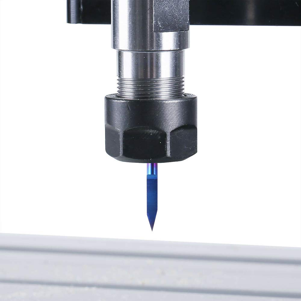 KKmoon 10 unids 3.175mm Recubrimiento Azul PCB 3D Fresa 10//15//20//25 Grados de Carburo de Tungsteno en Forma de V Bit de Grabaci/ón CNC Router