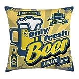 Man Cave Decor Throw Pillow Cushion Cover, Delicious Fresh Premium Beer Old Fashion Graphic Design Bottle Keg Mug Foam, Decorative Square Accent Pillow Case, 18 X 18 inches, Multicolor