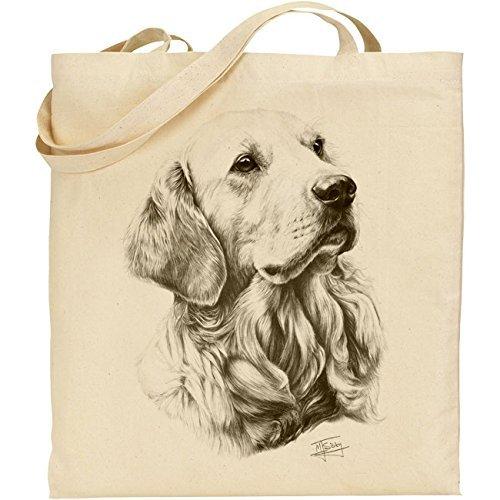 Mike Sibley Golden Retriever Cotton Natural Bag (Shops Sofa Leeds)