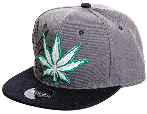 Weed-Marijuana-Leaf-Classic-Snapback-Flat-Visor-Hat-Cap-Includes-Free-Bandana-weed-mark-One-Size-BlackGreen