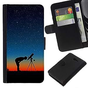 - MAN PROFILE TELESCOPE SUNSET STARS SKY NIGHT - - Prima caja de la PU billetera de cuero con ranuras para tarjetas, efectivo desmontable correa para l Funny House FOR Sony Xperia M2