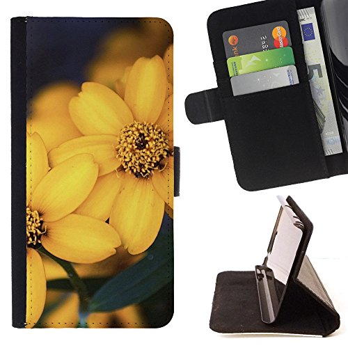 God Garden - FOR Apple Iphone 5C - Beautiful Yellow Flowers - Glitter Teal Purple Sparkling Watercolor Personalized Design Custom Style PU Leather Case Wallet Fli