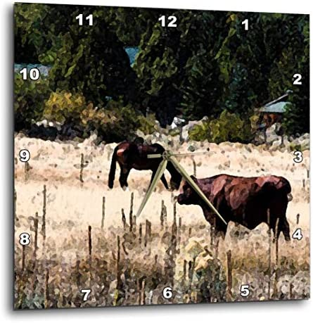 3dRose DPP_49531_1 Black Horse and Brown Cow Out in Pasture Together in Fresco Finish Wall Clock, 10 x 10