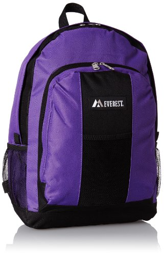 Everest Backpack with Front and Side Pockets, Dark Purple, One Size