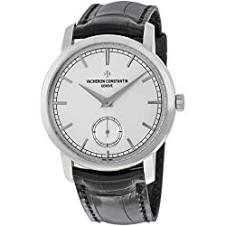 Vacheron Constantin Traditionnelle Silver Dial Black Leather Mens Watch 82172000G-9383