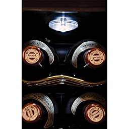 Haier - 16-Bottle Dual Zone Curved Door with Smoked Glass Wine Cellar - HVTEC16DABS - Black