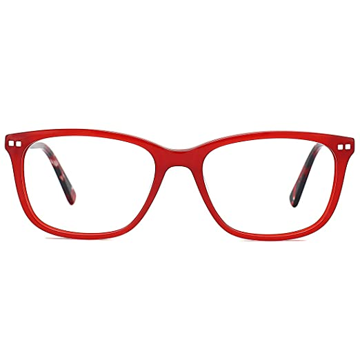ada77cbafacf Image Unavailable. Image not available for. Color  Slocyclub Women Sexy  Square Horn Rim Classic Optical Eyeglasses Clear Lens Red