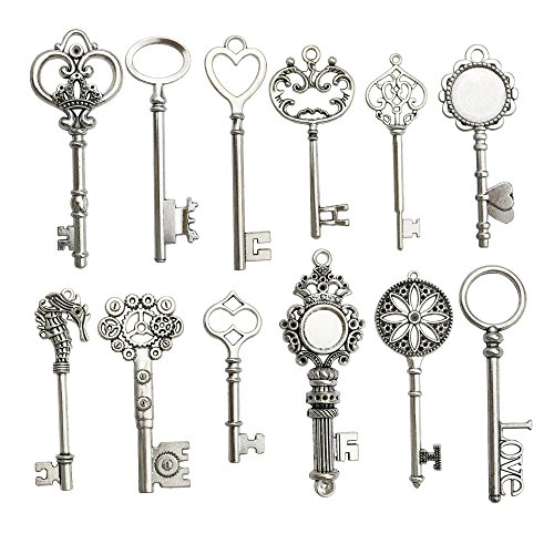 Antique Key Charm - 12pcs Antique Silver Huge Skeleton Key Craft Supplies Charms Pendants for Crafting, Jewelry Findings Making Accessory For DIY Necklace Bracelet m102 (Huge Key Charms)