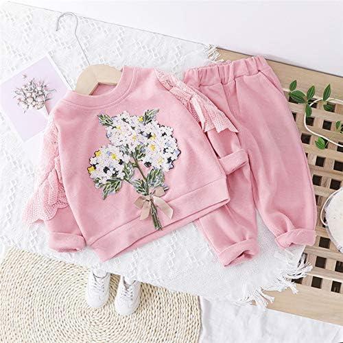 LIXIUQING Mädchen Kleidung Set Schöne Blumen Spitze T-Shirt Hosen Kleinkind Kleidung Urlaub Kleidung |Kleidungsset |Mutter & Kind