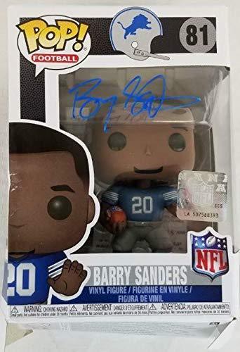 Barry Sanders Signed Detroit Lions NFL Legends Funko Pop Vinyl Figurine Schwartz - Autographed NFL Figurines ()