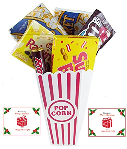 Have A Merry Christmas And A Happy Movie Night Gift Basket ~ Includes Butter Popcorn, Concession Stand Candy and a Gift Card for 2 Free Redbox Movie Rentals (Sugar Babies)