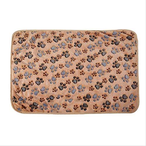 New Cute Dog Bed Mats Soft Flannel Fleece Paw Foot Print Warm Pet Blanket Sleeping Beds,Coffee,40x60CM