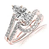 14K Rose Gold 1.17 CTW Curving Pave & Prong-set Round Diamond Engagement Ring and Wedding Band Set w/ 0.9 Ct GIA Certified Marquise Cut G Color SI1 Clarity Center