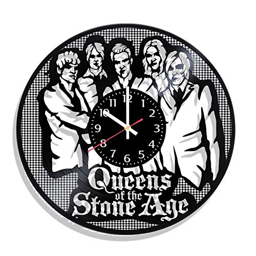 BombStudio Queens of The Stone Age Vinyl Record Wall Clock, Queens of The Stone Age Handmade for Kitchen, Office, Bedroom. Queens of The Stone Age Ideal Wall Poster