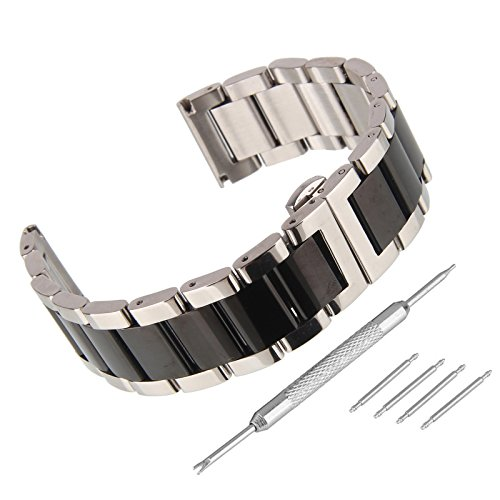 Black Butterfly Silver Link Watch - Beauty7 Polished 21mm Black Silver Solid Stainless Steel Link Watch Band Kit Push Button Butterfly Clasp