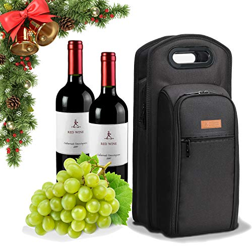 ALLCAMP 9 Piece Wine Travel Bag Wine Insulated Cooler Bag ,2 Bottle Wine Carrier Tote Bag two Sets of Tableware for Picnic (Bag Set Picnic)