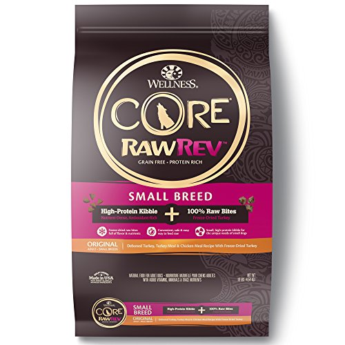 - Wellness Core Rawrev Natural Grain Free Small Breed Dry Dog Food, Original Turkey & Chicken With Freeze Dried Turkey, 10-Pound Bag