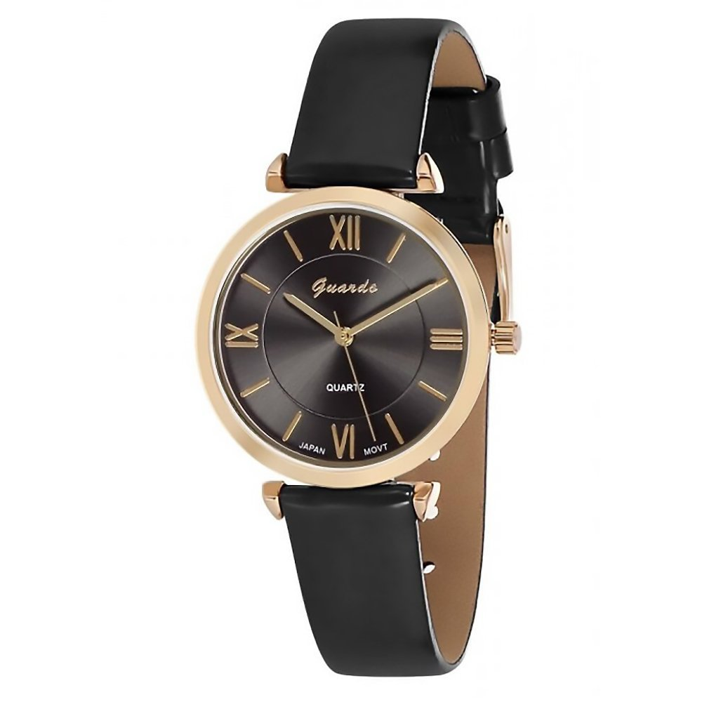 Amazon.com: Guardo Womens Liscio Black and Gold-Tone Eco-Leather Fashion Watch (WGW0001BKG): Watches