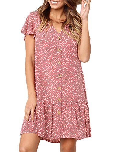 CILKOO Omens Polka Dot V Neck Button Down Ruffles Loose Mini Short T-Shirt Dress Red US4-6 Small ()