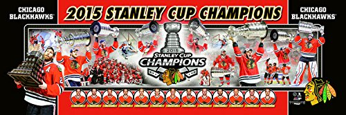 (NHL Hockey Chicago Blackhawks 2015 Stanley Cup Champions - 12x36 Panoramic Photo. Frame Dimensions 13.5 x39 Deluxe Double Matted with Black Metal Frame #4004)