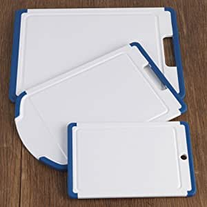 CHEFS Gripper Poly-Plastic Cutting Board Set, 3 piece: blue 3-piece