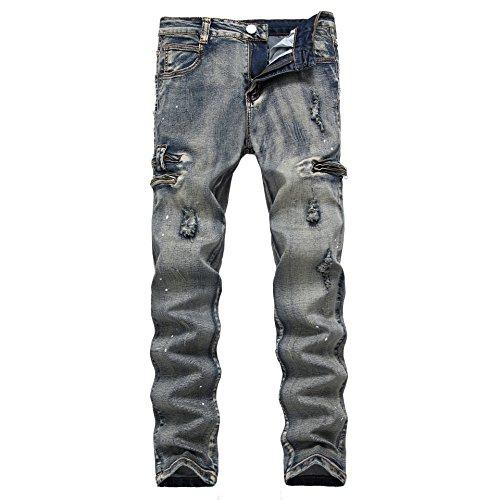 Pantalones Vaqueros Hombre Desgarrar Agujeros Jeans Algodón Pernera Recta Vaqueros Azul,Vaqueros para hombre Straight Fit con estilo desgastado Old Style