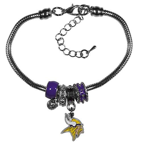 (Siskiyou NFL Minnesota Vikings Euro Bead Bracelet, 7.5