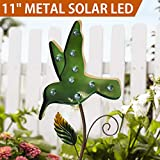 Bright Zeal 11'' Big METAL Green Bird Solar Lights Yard Art - Outdoor Garden Decorations LED Solar Garden Statue - Yard Decorations Solar Lights - Solar Bird Lights Figurine Lights Solar Garden Decor
