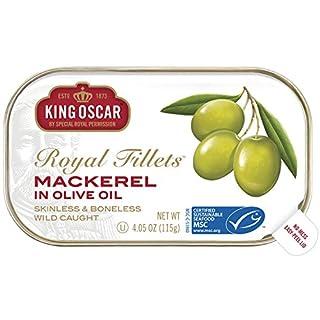 King Oscar Skinless & Boneless Mackerel Fillets in Olive Oil, 4.05 Ounce